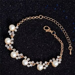 Gold Color Crystal Simulated Pearl Jewelry Chain